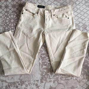 Cream toothpick jeans